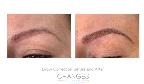 Brow shape and colour correction